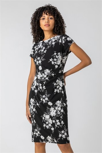 Black Floral Puff Print Side Ruched Dress
