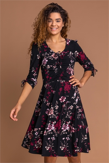 Wine Floral Print Gathered Dress, Image 1 of 5