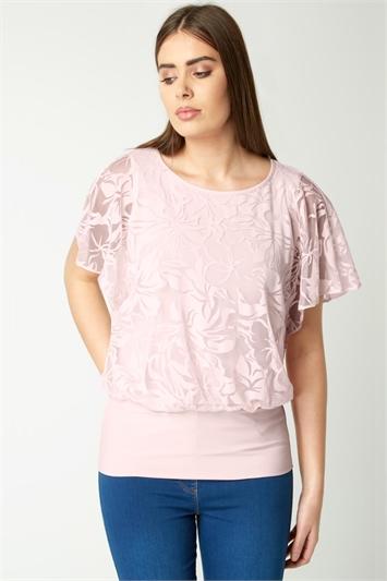 Floral Burnout Print Bubblehem Top