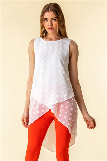 Textured Spot Asymmetric Vest Top