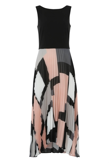 Fit and Flare Pleated Midi Dress
