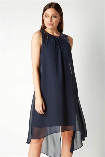 Cut Out Sequin Neck Dress