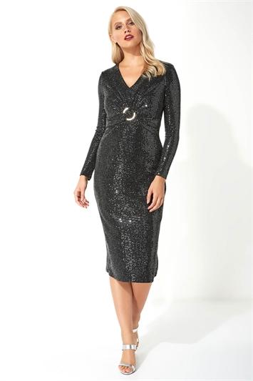 Sparkle Twist Front Midi Dress