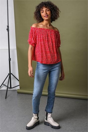 Red Ditsy Floral Print Bardot Top