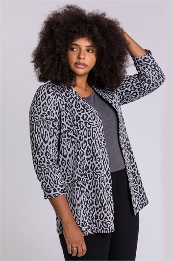 Grey Curve Animal Print Longline Jacket
