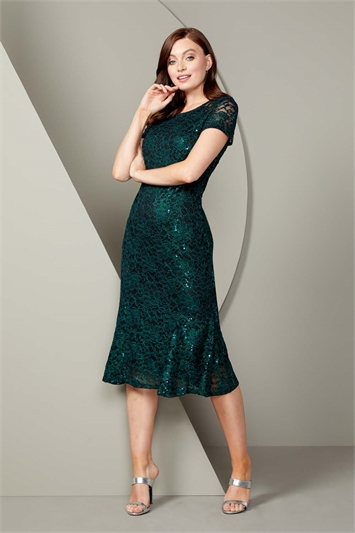 Metallic Lace Sequin Midi Dress