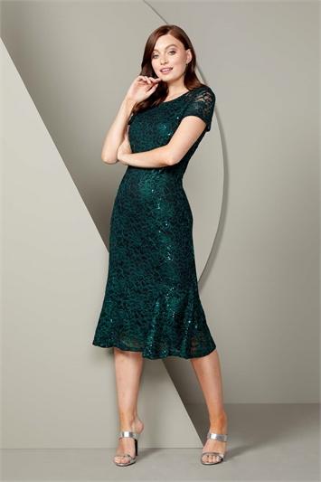 Green Metallic Lace Sequin Midi Dress