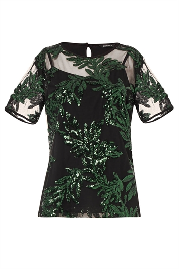 Leaf Mesh Embroidered Top