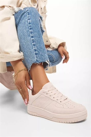 Pink Sporty Lace Up Trainer
