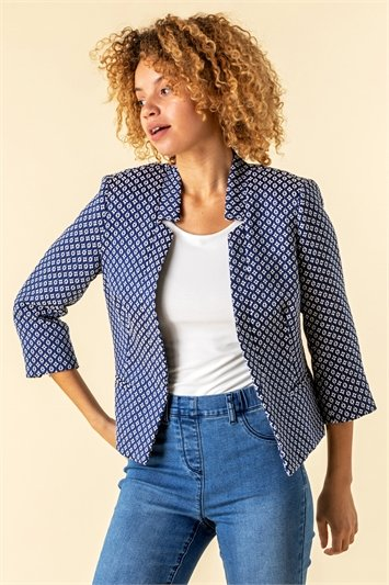 Jacquard Print Notch Neck Jacket