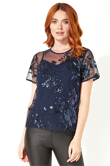 Floral Mesh Embroidered Top