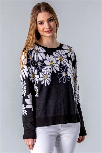 Daisy Print Long Sleeve Jumper