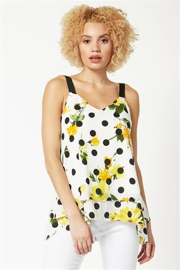 Floral Spot Print Overlay Vest Top