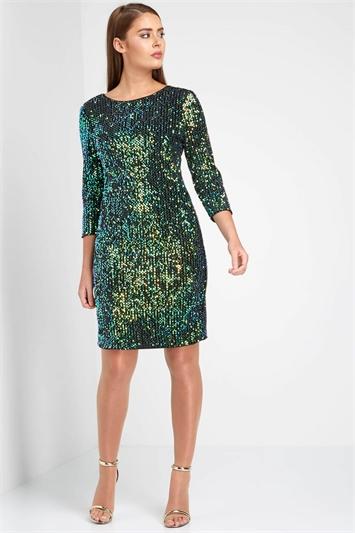 All-Over Sequin Shift Dress