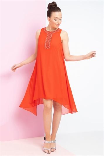 Embellished Overlay Swing Dress