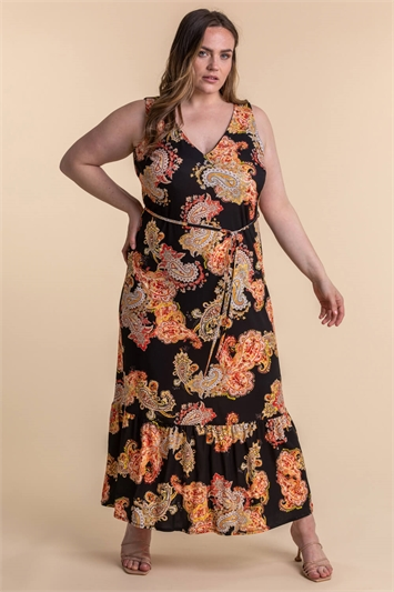 Curve Paisley Print Maxi Dress