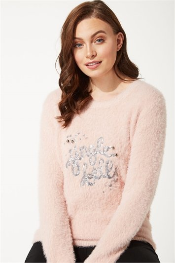 Jingle Bells Sequin Fluffy Christmas Jumper