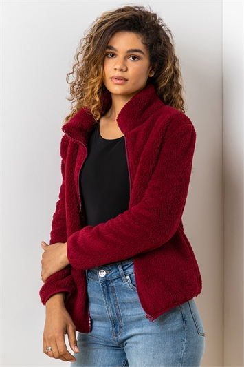 Burgundy Soft Sherpa Fleece Jacket