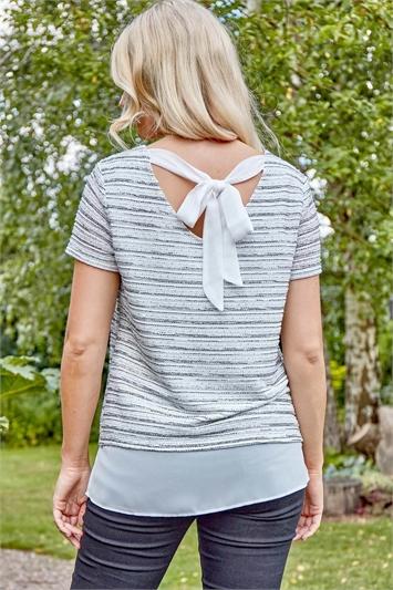 Boucle Tie Back Chiffon Hem Top