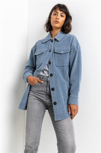 Steel Blue Washed Cord Button Through Shacket