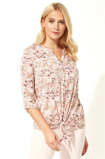Ditsy Floral Print Tie Front Top