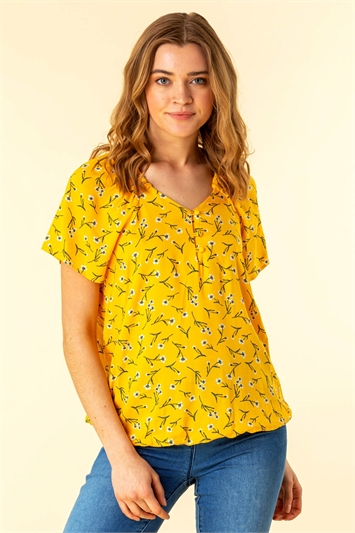 Ditsy Floral Button Detail Top