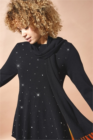 Embellished Tunic Jumper with Scarf