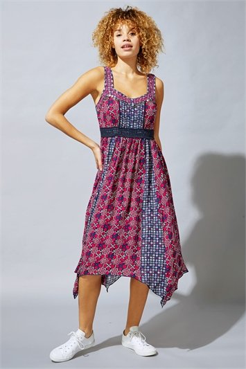 Tile Floral Print Hanky Hem Sun Dress