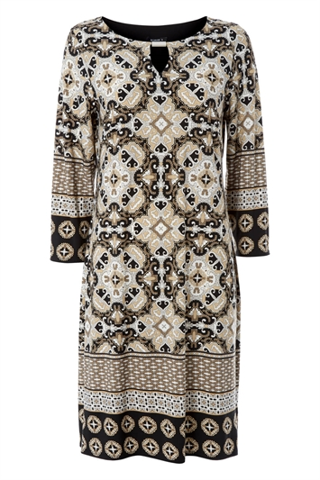 Tile Print Shift Dress