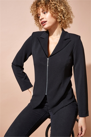Zip Through Textured Long Sleeve Jacket