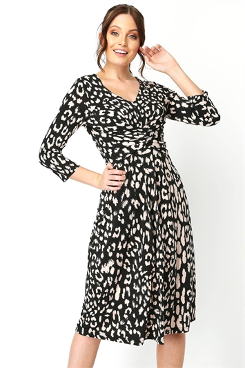 Animal Print Fit And Flare Dress
