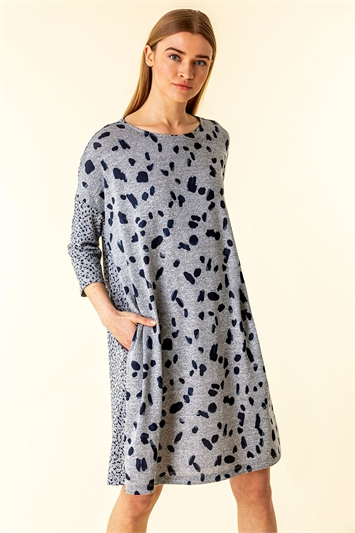 Spot Print Pocket Jersey Dress