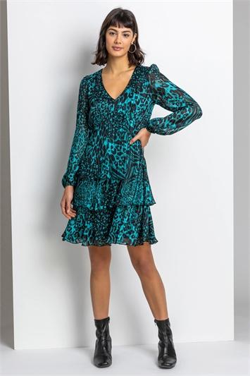 Teal Tiered Satin Animal Print Dress