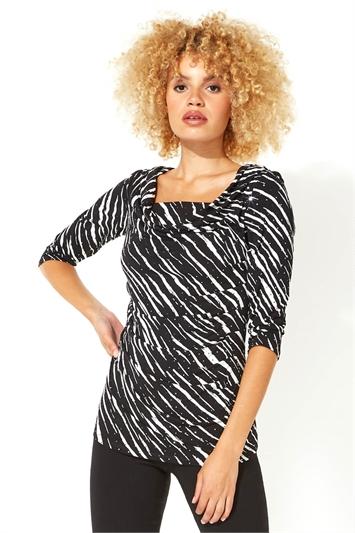 Zebra Print Sequin Cowl Neck Top