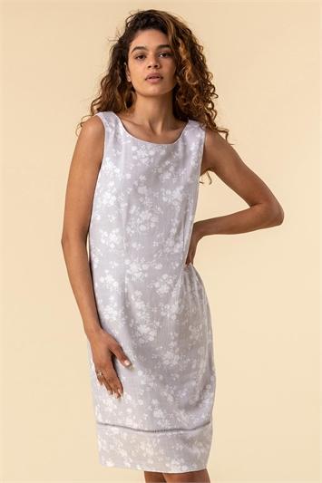 Light Grey Floral Print V-Back Shift Dress