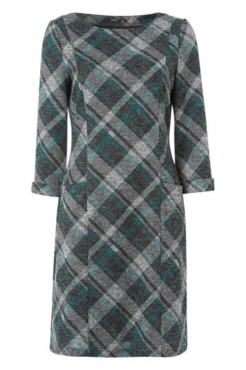 Check Print 3/4 Sleeve Shift Dress