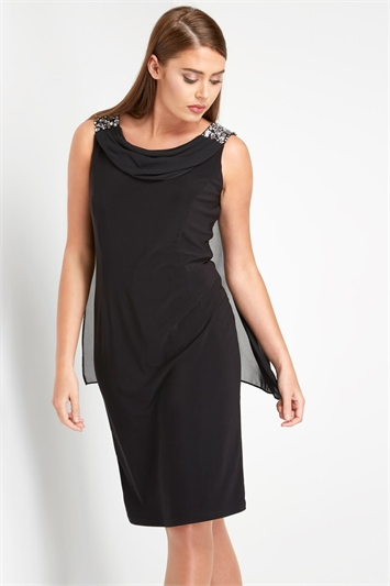 Diamante Cowl Neck Cape Dress