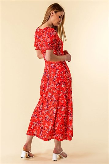 Ditsy Floral Ruched Maxi Dress