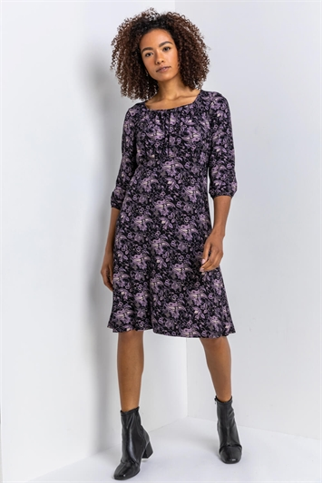 Black Square Neck Paisley Print Dress, Image 1 of 4