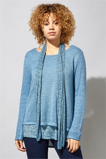 Denim Blue Overlay Knit Top And Floral Scarf, Image 1 of 4