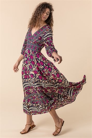 Magenta Floral Border Print Maxi Dress