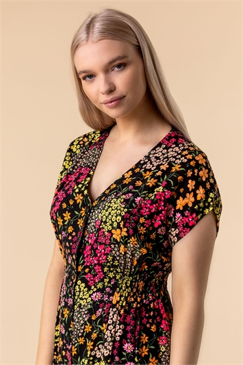 Multi Floral Print Button Through Dress, Image 1 of 5