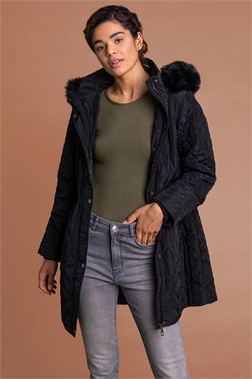Black Faux Fur Trim Hooded Parka Coat, Image 1 of 5