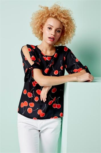 Cherry Print Split Sleeve Top