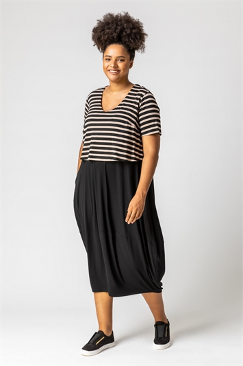Beige Curve Stripe Contrast Print Jersey Dress