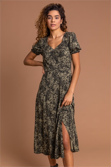 Khaki Ditsy Floral Jersey Midi Dress