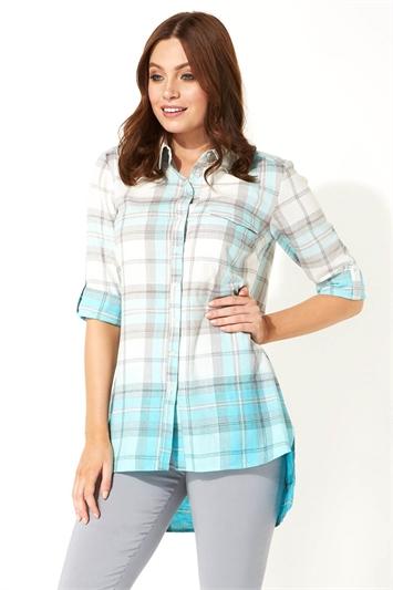 Ombre Check Print Shirt