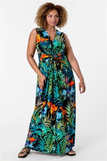 Orange Curve Tropical Twist Waist Maxi Dress