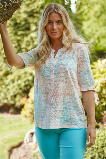 Peach Shell Print Short Sleeve Jersey Top, Image 1 of 2