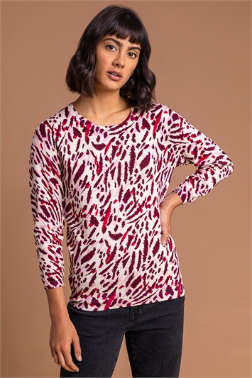 Red Abstract Animal Print Jumper